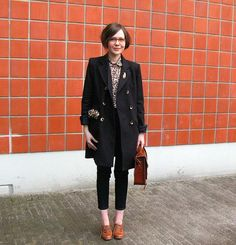 Winter Chic: Cropped pants and oxfords look extra-cool when paired with a slightly oversized coat, leopard blouse and boxy bag