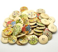 20pcs Assorted Multicolor Flower 4 Hole Painted Round Wood Sewing Buttons - Scrapbooking 25mm - Ships Immediately from California - W24. $3,79, via Etsy.