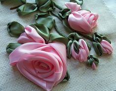 embroidered ribbon roses tutorial
