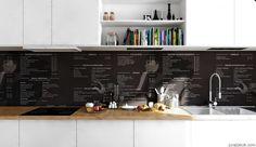 Scandinavian Apartment- monochrome printed splashback and cookbook nieches