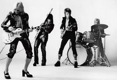 This portrait of Ziggy Stardust And The Spiders From Mars was taken by Mick Rock in October 1972 in San Francisco.