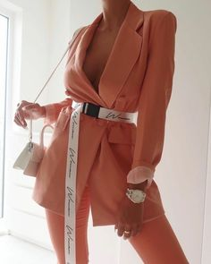 Womens fashion womens fall fashion fall looks 2019 peach blazer ootd so online dress for less Suit Fashion, Fashion 2020, Look Fashion, Fashion Dresses, Womens Fashion, Fashion Design, Fashion Trends, Fashion Ideas, Fashion Fall