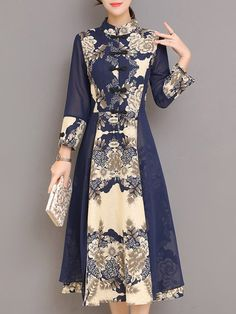 Shop linen dresses navy blue a line buttoned paneled floral printed long sleeve midi dress online discover unique designers fashion at stylewe com Batik Fashion, Hijab Fashion, Fashion Dresses, Long Sleeve Midi Dress, Floral Midi Dress, Linen Dresses, Modest Dresses, Model Dress Batik, Modern Batik Dress