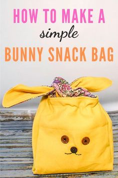 Use your basic sewing skills to make this simple sewing project.  This simple bunny snack bag is a fun and functional sewing tutorial thaqt will walk you through all of the steps on how to create this fun little bag in no time. Easy Sewing Projects, Sewing Projects For Beginners, Sewing Tutorials, Sewing Crafts, Sewing Patterns, Sewing Basics, Basic Sewing, Learn To Sew, How To Make