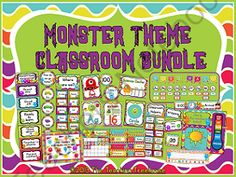 """Monster Theme Classroom Bundle Giveaway! Enter for your chance to win.  Monster Theme Classroom Bundle (634 pages) from The Teaching Treehouse on TeachersNotebook.com (Ends on on 6-14-2014)  This enormous 634 page monster theme bundle contains everything you need to make your classroom """"monster-iffic""""!     Included in this bundle:  Monster Theme Word Wall Set Included in this complete set: title banner, ABC headers, and word wall cards in 6 bright colors. 220 Dolch sight ..."""
