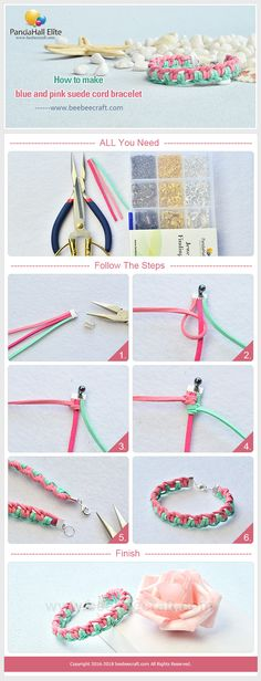 Learn from #Beebeecraft how to make blue and pink #suedecord #bracelet