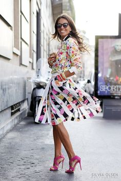 Viviana Volpicella blooming look - I REALLY like the skirt and shoes but the jacket and bangles make the outfit way too busy. Paired with more simplicity would be much classier.