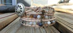 Sandy Dreams Triple Wrap Handmade Gemstone Bracelet  Protection and anti-depression  by OffOnAWhimJewelry