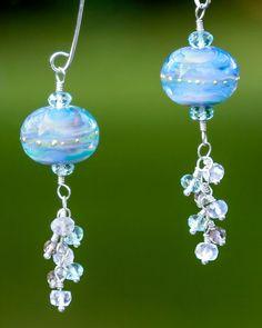 Blue Raspberry Artisan Glass Bead Earrings