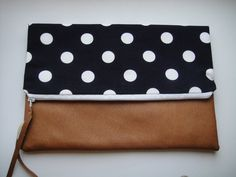 Polka dot fold-over zippered clutch