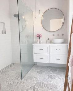 home decor on budget; small master bathroom budget makeover, b… – Home Decor On a Budget Bathroom Modern White Bathroom, Modern Bathroom Design, Bathroom Interior Design, Simple Bathroom, Bath Design, Minimal Bathroom, Neutral Bathroom, Classic Bathroom, Bathroom Makeovers On A Budget