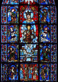 Vitrail de Cathédrale Notre-Dame, Chartres, France. Réalisé vers 1150.