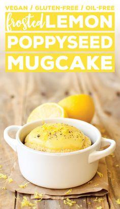Frosted Lemon Poppy Seed Mug Cake #easy #healthy #vegan #glutenfree #oilfree #snack #summer