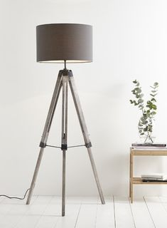 Tripod lamp for sitting room. Need darker wood and mid grey shade