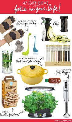 A holiday gift guide for the food lover or chef in your life! This guide has awesome gift ideas for health food lovers, aspiring Michelin Star chefs, foodie gifts under $20, and gifts for food bloggers. These gifts are from around the world, help your foodie get organized, are family-friendly, and are just what they didn't know they needed!
