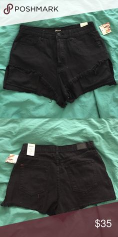 Urban Outfitters BDG Lou high low cutoff shorts Festival-ready black high low shorts reveal pockets in front! Super cute, brand new with tags never worn  Feel free to make an offer!! 🛍💵  Always happy to bundle! 💝👍🏼📦  No trades please! 🙅🏻👎🏼  I try to ship quickly! 📬🏃  Thanks for stopping by, please check out my other listings! 😘👙👗👚👠👜💋 BDG Shorts Jean Shorts