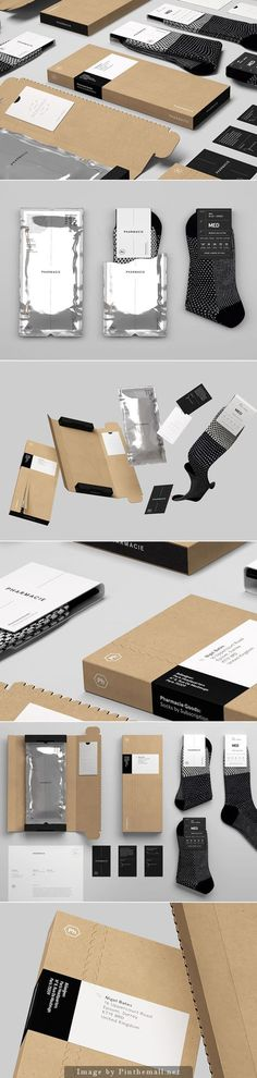 Pharmacie Goods on Behance via Socio Design curated by Packaging Diva PD. More great sock packaging. Retail Packaging, Brand Packaging, Packaging Ideas, Clothing Packaging, Designer Socks, Packaging Design Inspiration, Box Design, Identity Design, Cool Designs