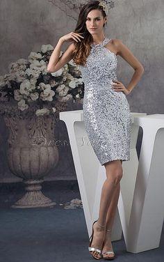 Favodresses.com is a professional women's dresses online shop,where you can find your favourite Sequin Sheath Short Silver Dress.