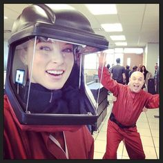 Rachel Nichols and Brian Markinson sport their hazard suits on the set of Continuum Season 3 - Feb 24, 2014 (via ticklenichols on Instagram)