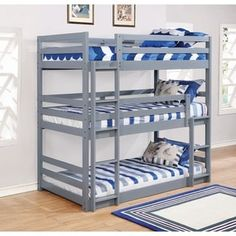 Save on space with this triple bunk bed. This bunk bed features a modular design. meaning you can split it into three separate beds if you so desire. This bunk bed is not only functional. it is also stylish with its clean contemporary lines and sleek. Safe Bunk Beds, Full Bunk Beds, Twin Beds, Triple Twin Bunk Bed, Triple Bed, Arley Queen, Bunk Bed Plans, Bunk Bed Designs, Bed Dimensions