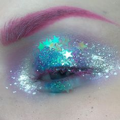 """I believe in fairies ✨ I basically threw all my glitters on my lid, used @glitterinjections and @makeupstudionl glitter. I have some more Halloween looks…"""