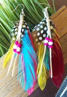 Vibrant Blue Red Yellow Polkadot Feather Earrings with Beads Bohemian Jewelry for Women Teen Girls on Etsy, $9.95