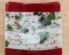 Red Fused Glass bowl by PaladinGlass on Etsy, £24.00