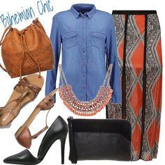 Un outfit che prende ispirazione dal leggiadro stile bohemian, dove la comodità della camicia di jeans incontra la stupenda gonna a pannelli con stampa azteca che svolazzerà accompagnando ogni vostro passo. Al collo un collare dallo stile africano per dare ricchezza. Per il classico abbinamento boho, borsa a sacco e sandali flat nei toni del cuoio, di giorno. Pochette e tacchi altissimi per reinterpretarlo all'aperitivo con le amiche.