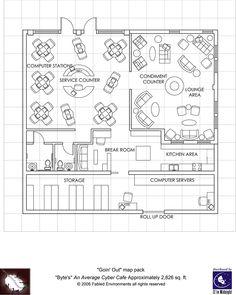 Modern Floorplans: Cyber-Cafe - Fabled Environments |  | Modern FloorplansDriveThruRPG.com