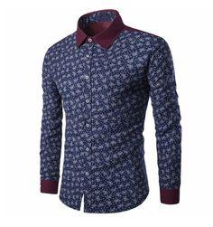 COOFANDY Mens Fashion Big and Tall Turn Down Collar Long Sleeve Star Print Casual Shirts