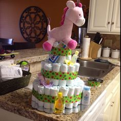 Diaper cake for a baby shower