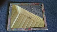 RETRO RECTANGULAR MIRROR WITH FLORAL AND GOLD FRAME 36cm x 46cm