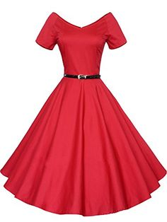 Luouse 40s 50s 60s Vintage V-neck Swing Rockabilly Pinup Ball Gown Party Dress Red XX-Large