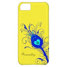Trendy Yellow and Blue Peacock Feather iPhone 5C Cases