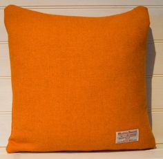 Orange 'Harris Tweed' Cushion Cover  throw pillow by GreenCallow