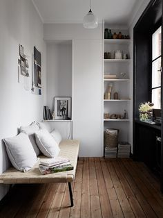 reading nook with clever storage idea