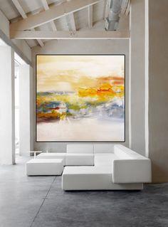 Grande arte minimalista bianco astratto contemporaneo di