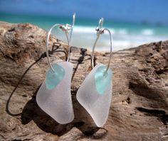 Hawaiian Rare Tiny Teal Aqua Blue Beach Glass Over Unique Clear Beach Glass on Silver Plated Circular Wire Small Hoop Earrings by LindseysBeachGlass, $43.00