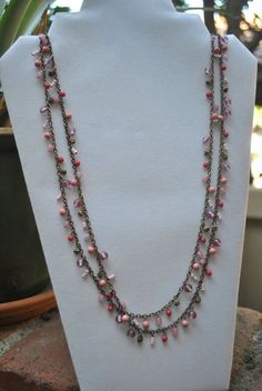 Pier 1 Imports Double Strand Long Chain Pink Necklace #PierImports #Chain