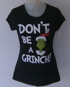 Dr Seuss Christmas Grinch T Shirt Black Junior XL Size 15/17 #DrSeuss #GraphicTee