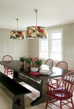 Farm style dining table with Windsor chairs