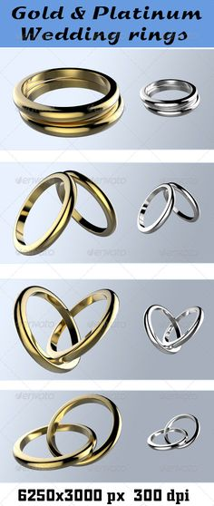 High quality 3D render of gold and platinum wedding rings in 4 differentNGLES .TransparentPNGfiles (62503000). 300 dpi.