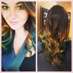 Ombre' hair with mermaid colored pieces #green #blue #ombre' #hairbyme #salonlife #hair #hairdresser