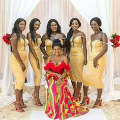 ABC of Ghana Traditional Wedding Ceremonies ~ Wedding Planner Ghana Did you se. African Bridesmaid Dresses, Bridesmaid Outfit, Wedding Bridesmaids, Wedding Dresses, Ghana Traditional Wedding, African Traditional Wedding Dress, Wedding Colors, Wedding Styles, Wedding Photos