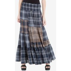 Max Studio London Plaid Patchwork Maxi Skirt ($138) ❤ liked on Polyvore featuring skirts, patchwork skirts, tartan plaid skirt, ankle length skirts, long plaid skirt and long patchwork skirt