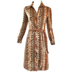 Bonwit Teller 1970s Batik Print Belted Cotton 70s Vintage Brown Safari Dress  | From a collection of rare vintage day dresses at https://www.1stdibs.com/fashion/clothing/day-dresses/
