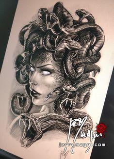 Medusa Tattoo Design, Tattoo Design Drawings, Tattoo Designs, Medusa Drawing, Medusa Art, Forearm Tattoos, Body Art Tattoos, Sleeve Tattoos, Gangsta Tattoos
