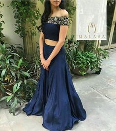 Post by Khan's Creation ( on blue, party wear, off-shoulder, co-ordinates Choli Designs, Lehenga Designs, Saree Blouse Designs, Dress Designs, Indian Wedding Outfits, Bridal Outfits, Indian Outfits, Indian Bridal Lehenga, Patiala Salwar