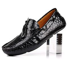 Santimon-Men's Comfortable Crocodile Genuine Leather Driving Shoes Horsebit Moccasins Loafer Doug Shoes Boat Shoes-black-dot-42