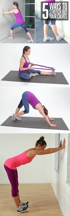 5 Easy Ways to Stretch Your Calves Have plans to run this weekend? Then this is for you!  CALF STRETCH,POPSUGAR FITNESS,RUNNING,STRETCHING